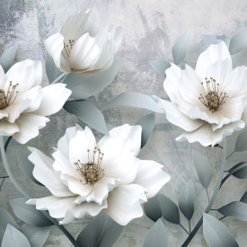 Fototapet, Flori albe delicate pe fundal gri