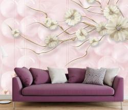 Fototapet, Flori albe pe fundal roz