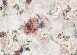 Fototapet, Flori multicolore pe un fundal alb