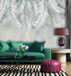Fototapet, Frunze de palmier pe culori gri-verzui pal
