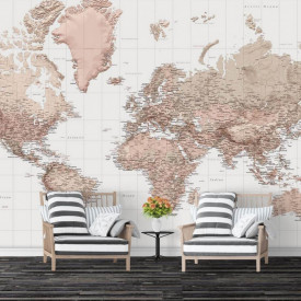 Fototapet, Harta fizică a lumii bej
