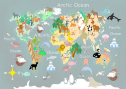 Fototapet, Harta lumii pentru copii pe fundal gri