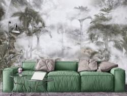 Fototapet, Jungla de palmieri în ceață 1