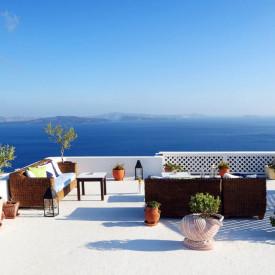 Fototapet Mare, Vedere de la balcon la marea albastră