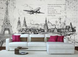 Fototapet, Orașul desenat cu un avion