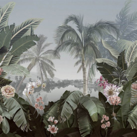 Fototapet, Parc frumos cu flori și copaci