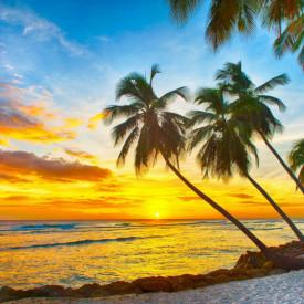 Fototapet, Peisaj la apus de soare