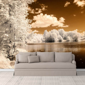 Fototapet, Peisajul de iarnă lângă lac