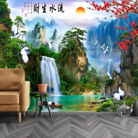 Fototapet, Peisajul montan chinezesc cu lac și barcă