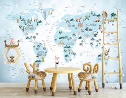 Fototapet Pentru Copii, Harta cu atracții turistice și animale