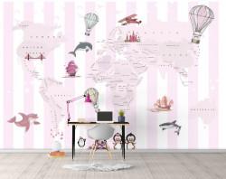 Fototapet Pentru Copii, Harta lumii pentru fetițe