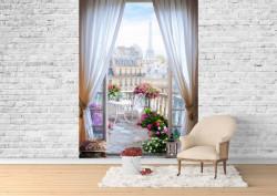 Fototapet, Priveliște de la balcon supra Parisului
