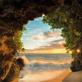 Fototapet, Priveliște la mare din peșteră