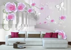Fototapete 3D, Un trandafir roz pe fundalul unui tunel.