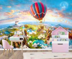 Fototapete 3D, Zborul cu balonul cu aer cald