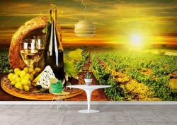 Fototapete Alimente și băuturi, Cașcavalul cu vin pe un butoi pe un fond unui apus de soare