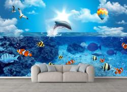 Fototapete, Pește colorat în mare