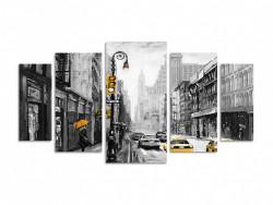 Multicanvas, Mașini galbene într-un oraș alb-negru