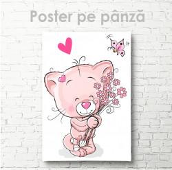 Poster, Pisicuță cu un buchet de flori