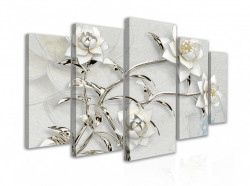 Tablou modular,flori albe cu detalii argintii