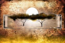 Tablou modular, Ilustrație africană de apusul soarelui în stil vintage