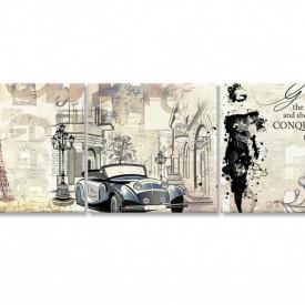 Tablou modular, O mașină în Paris și o fată într-o rochie neagră