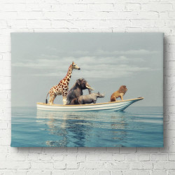 Tablouri Canvas, Animalele africane înoată într-o barcă