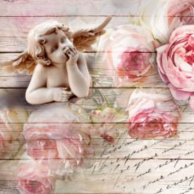 Fototapet 3D, Bujori roz și un înger pe un fundal 3D