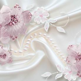 Fototapet 3D, Flori roz pe un fundal alb