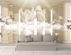 Fototapet 3D, Îngeri drăguți pe fundalul coloanelor clasice