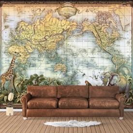 Fototapet, Animale pe fundalul hărții