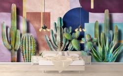 Fototapet Botanica, Cacti pe fundal abstract.