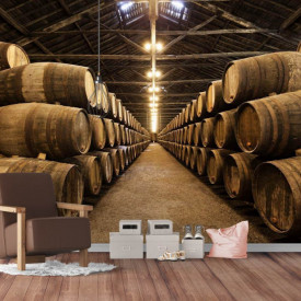 Fototapet, Butoaie de vin