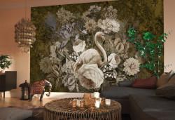 Fototapet, Flamingo și flori 1