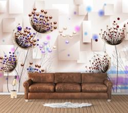 Fototapet, Flori abstracte pe un fundal deschis