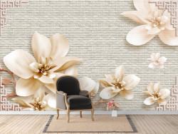 Fototapet, Flori magice de magnolie bej
