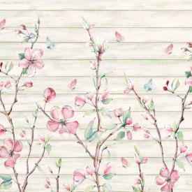 Fototapet, Flori roz pe un fundal abstract