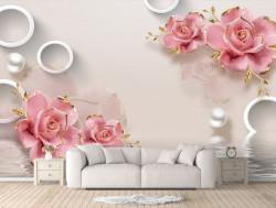 Fototapet, Flori roz pe un fundal delicat
