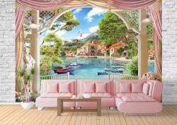 Fototapet Fresco, Fototapete cu o vedere de la fereastră spre un oraș minunat pe apă