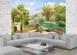 Fototapet Fresco, Fototapete cu o vedere la lac și la casă