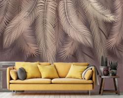 Fototapet, Frunze de palmieri roz pe un fond mov