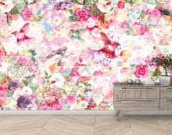 Fototapet, Grădină de trandafiri cu păsări