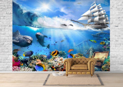 Fototapet Mare, O corabie și lumea subacvatică