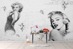 Fototapet, Marlyn Monroe pe fundal de zid de cărămidă