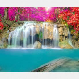 Fototapet, O cascadă și copaci multicolori