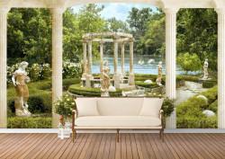 Fototapet, O Priveliște spre un parc verde și un foișor alb