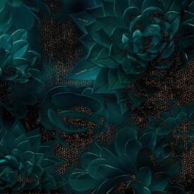 Fototapet, Plante suculente întunecate pe un fundal auriu
