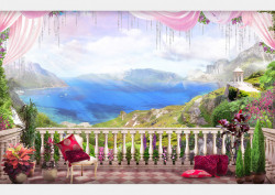Fototapet, Priveliște de pe balcon la peisajul montan