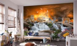 Fototapet, Tigri pe fundalul unei cascade