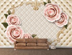 Fototapet, Trandafiri roz pe fundal de piele bej